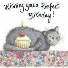 happy birthday cat card pussy and cake themed so unique completing simple elegant stunning model looked so sweet also classic Happy Birthday Art, Happy Birthday Pictures, Birthday Love, Happy Birthday Greetings, Animal Birthday, Birthday Greeting Cards, Birthday Clips, Birthday Blessings, Birthday Messages