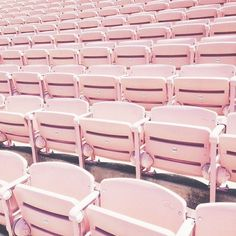 rows of pastel pink seating