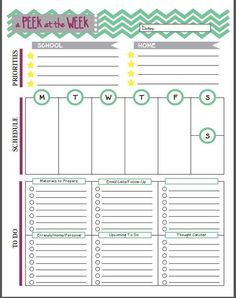 Week at a glance form prepping homeschool and week planner for Week at a glance lesson plan template