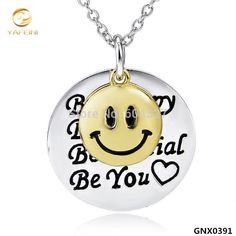 925 sterling silver smile face necklace engraved stylish necklace gnx0391