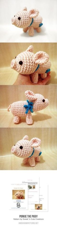 Mesmerizing Crochet an Amigurumi Rabbit Ideas. Lovely Crochet an Amigurumi Rabbit Ideas. Crochet Pig, Crochet Amigurumi, Cute Crochet, Amigurumi Patterns, Crochet Animals, Crochet Crafts, Crochet Dolls, Yarn Crafts, Crochet Patterns