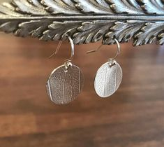 Sterling Silver, Hand Cut and Embossed, Leaf Embossed Disk Earrings