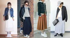 百褶長裙x運動鞋: 長裙給人溫文儒雅的文靜印象,無論何種面料搭配都難以帶出甜美以外的氛圍,但是只要在足部加上運動鞋就能迅速轉換風格,讓球鞋帶出休閒格調,尤其是長度及踝的百褶裙更是達人必備的穿搭聖品,不只搭配性高,百褶的設計為造型注入氣質印象,挑選露出腰身的短版上衣、外套最能製造出完美比例。