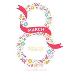Eight made up of flowers woman day background Free Vector