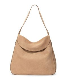 Suede Doubled Flap-Top Medium Hobo Bag, Camel (Cammello) by Prada at Neiman Marcus.