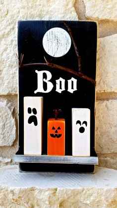 Boo Halloween Spooky Night Wall Decor Shelf with Ghosts and Jack-o-lantern pumpkin by ArtSortof on Etsy Seasonal Decor, Fall Decor, Cool Pins, Halloween Boo, Jack Skellington, Cool Items, Bathroom Inspiration, Ghosts, Holiday Fun