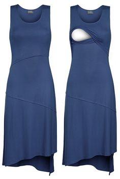 Asymmetrical hem nursing dress by Milk Nursingwear