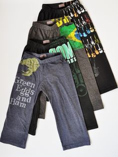 Repurposed t-shirts to Kids Pajama bottoms, comfy pants for around the house