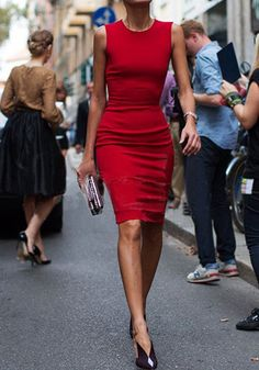 Red Plain Round Neck Sleeveless Sexy Midi Dress