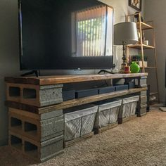 Tv stands, pallet tv stands, microwave stand, microwave recipes, tv stand c Pallet Tv Stands, Wooden Tv Stands, Furniture Projects, Home Projects, Diy Furniture, Cinder Block Furniture, Cinder Blocks, Farmhouse Tv Stand, Tv Stand Designs