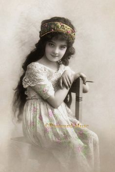 Girl With A Pencil - New 4x6 Vintage Image Photo Print - CE085