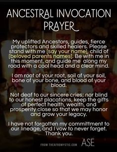 A simple Ancestral Invocation prayer to invite the presence of your spiritually cultivated Egun. Hoodoo Spells, Magick Spells, Green Witchcraft, Healing Spells, Healing Quotes, Spiritual Prayers, Spiritual Awakening, Spiritual Path, Invocation Prayer