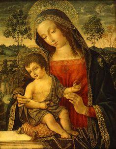 Bernardino di Betto, called Pintoricchio or Pinturicchio (1454-1513) –– Madonna with Child, c. 1496-1498 :  The Huntington Library,  San Marino, California.  USA  (618×800)