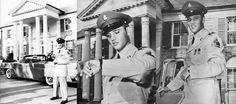Off duty/ Official press photo - Private Elvis Presley, proudly attired in full dress uniform, was on a two-week leave after he had completed basic training at Fort Hood, TX. These photos were taken in front of his mansion Graceland in Memphis, TN on Monday, June 2, 1958, just two days into his fortnight's furlough. The car is his red 1958 Lincoln Continental Mark III convertible.