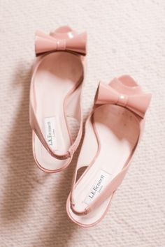 Pink Patent Leather Bow Wedding Shoes