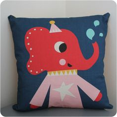 Lola Elephant cushion.   Beautifully designed cushion - also matching lampshade to fully accessorise a room.   Great for a child's nursery, bedroom or playroom.  #children'sbedroom #nurseryideas #scandidesigns #cushion #elephantdesign #matchinglampshadeandcushion