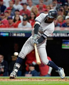 October 11, 2017:  ALDS Game 5: Yankees at Indians  -  New York Yankees' Didi Gregorius hits a two-run home run off Cleveland Indians starting pitcher Corey Kluber during the third inning of Game 5 of a baseball American League Division Series, Wednesday, Oct. 11, 2017, in Cleveland.