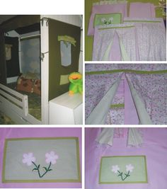 Conjunto de casinha para cama baixa com parede rosa clara e cortina com estampa de flores miúdas na parte externa e listrado de verde e branco na parte interna. 3 janelas com bolso na cor verde poá com aplicação de flores e 1 telhado. Decorative fabric house with 3 windows and 1 roof. Pink color.