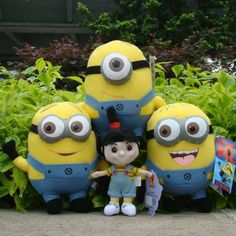 "Lot 4 Pcs Despicable Me Plush Toy Minions 9"" & Agnes Cute Stuffed Animal Doll"