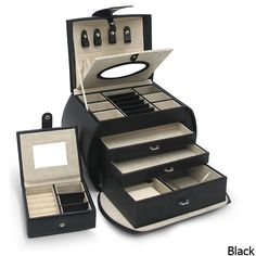 Morelle 'Diana' Leather Jewelry Box with Takeaway Case