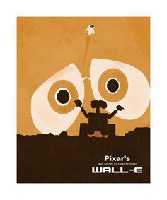 DISNEY PIXARS WALLE print, children's kids nursery art decor, minimalist disney artwork