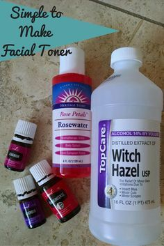 Simple to MakeFacial Toner using essential oils. Lavender. Geranium. Frankincense. + Witch Hazel, Rose Water & Water.