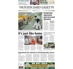 The front page of the Taunton Daily Gazette for Monday, Aug. 17, 2015.