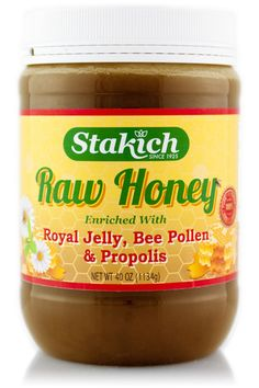Our Stakich Raw Honey is enriched with all natural Royal Jelly, Bee Pollen and Propolis giving you the complete nutritional benefits from the beehive. The rich flavor of our raw honey masks the naturally bitter taste that can accompany these enrichments, making this honey dynamically healthy while keeping true to the natural taste you love. One of our bestsellers!