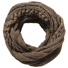 Cable Knit Infinity Scarf - Taupe