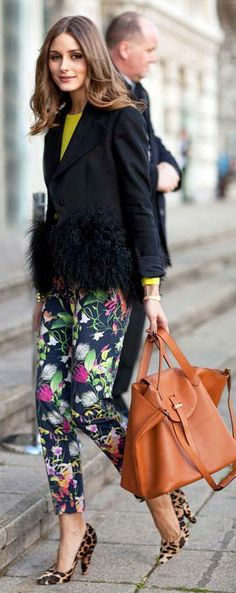 Olivia Palermo London Fashion Week 2014 Mixing prints
