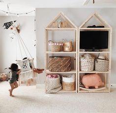 New toy storage shelves playroom organization Ideas Bedroom Storage Ideas For Clothes, Bedroom Storage For Small Rooms, Childrens Toy Storage, Kids Storage, Storage Hacks, Storage Solutions, Playroom Storage, Book Storage, Cube Storage