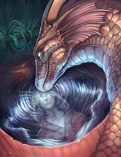 Dragon magic well reflection - Creative Concept Art by Rajewel Fantasy World, Dark Fantasy, Fantasy Art, Fantasy Dragon, Dragon Art, Fantasy Warrior, Magical Creatures, Fantasy Creatures, Dragon Medieval
