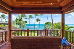 Rustling Tradewinds, the Pacific Ocean and a Lanai in Hawaii.