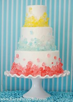 Sweet Shoppe Candy Party, Rock Candy Cake by Kara's Party Ideas Click through for more pictures of an adorable party! A cake for Tyler Pretty Cakes, Cute Cakes, Beautiful Cakes, Amazing Cakes, Beautiful Flowers, Rock Candy Cakes, Cake Pops, Bolo Cake, Cake Art