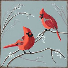 Social Artworking Canvas Painting Design - Cardinals and Berries