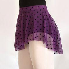 Purple Flocked Polka Dot Mesh Ballet Skirt - SAB Style- Royall Dancewear- Lyrical- Pull On Dance skirt