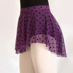 Add some fun to your black leotard! Purple Flocked Polka Dot Mesh Ballet Skirt  SAB by RoyallDancewear