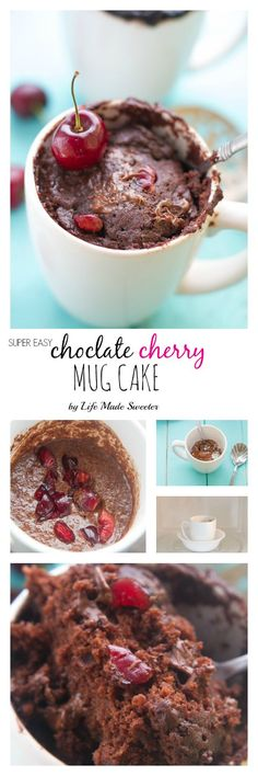 Chocolate Cherry Mug Cake is super easy to whip up & perfect for curing those late night chocolate cravings
