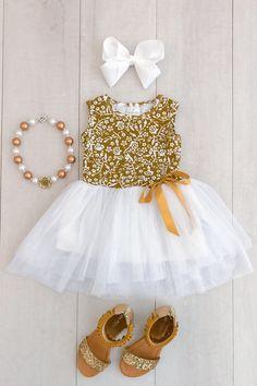 Gold Floral Tutu Dress