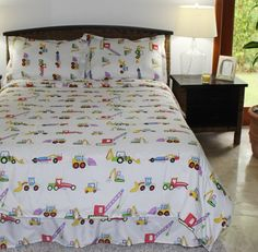 Multiple Sizes - Boys Comforter Set - Construction White - Kids Style-Twin- Exclusively by BlowOut Bedding RN - Boys Comforter Sets, Teen Bedding, White Kids Bed, Truck Bedroom, Bedroom Bed, Kids Sheets, Kids Canopy, Bedroom Themes, Bedroom Ideas