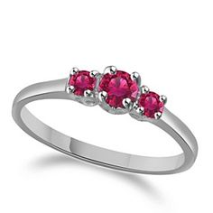 1/4 Carat Pink Sapphier 3-Stone Prong Set Engagement Ring In 10K Gold by JewelryHub on Opensky
