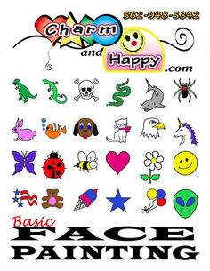 Easy Face Painting Clip Art | Menu of BASIC Quick & Easy Face Painting Ideas