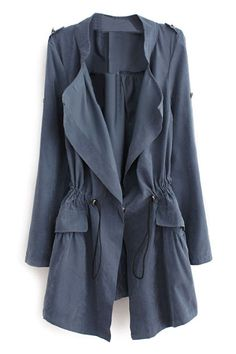 Lapel Self-tied Pocketed Blue Trench Coat