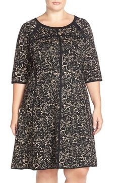 Taylor Dresses Jacquard Knit A-Line Dress (Plus Size) available at #Nordstrom