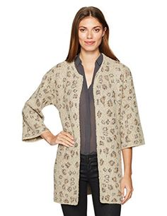 cupcakes and cashmere Women's Noely Leopard Jacquard Patterned Sweater Cardigan