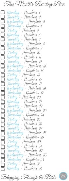 Bible Reading plan from Good Morning Girls and Women Living Well FREE Printables, Read Through the Bible, Bible Study, Women's Bible Study, The Book of Numbers, Good Morning Guys Bookmark @womenlivingwell