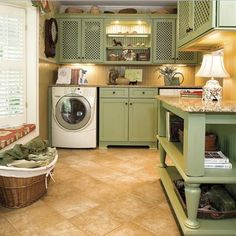 Retro laundry room with beige lime color scheme | Decolover.net