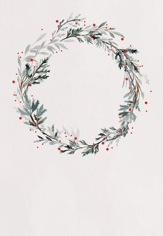 Holiday wreath - Free Christmas Invitation Template | Greetings Island