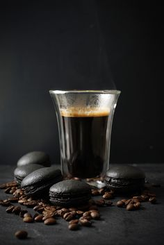 Black coffee macarons. Love to try this.