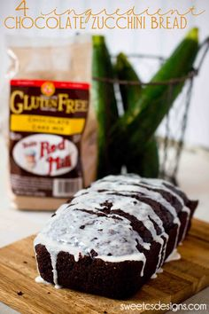 4 Ingredient Chocolate Zucchini Bread- this stuff is SO good! This gluten free version at sweetcsdesigns.com is super moist and delicious and uses up lots of fresh #zucchini !